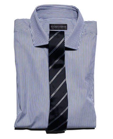 Learn to mix patterns between your shirt and tie for Striped shirt with tie