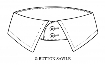 2 button collar for long necks, mens dress shirts