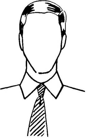 narrow face with spread collars